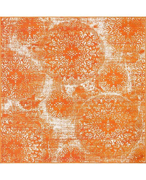 Bridgeport Home Basha Bas7 Orange 6' x 6' Square Area Rug