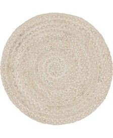 "Bridgeport Home Roari Cotton Braids Rcb1 Ivory 3' 3"" x 3' 3"" Round Area Rug"