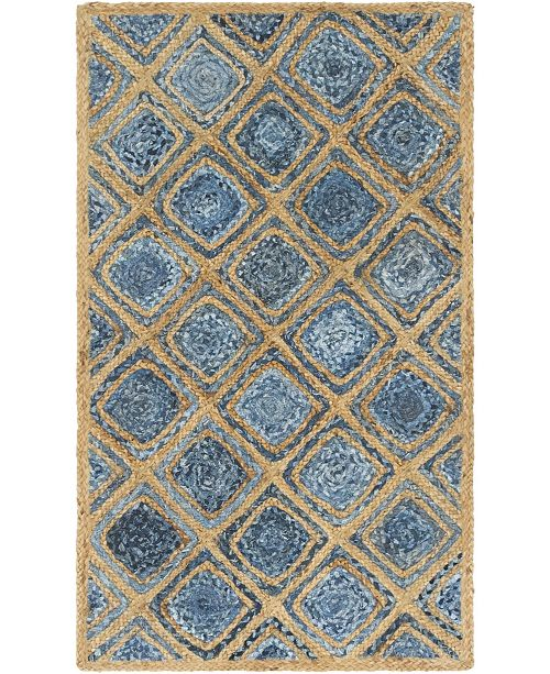 "Bridgeport Home Braided Square Bsq6 Blue 3' 3"" x 5' Area Rug"