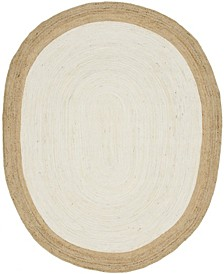 Braided Jute A Bja4 Ivory 8' x 10' Oval Area Rug