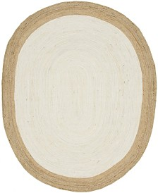 Bridgeport Home Braided Jute A Bja4 Ivory 8' x 10' Oval Area Rug