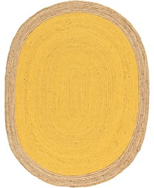 Braided Jute A Bja4 Yellow 8' x 10' Oval Area Rug