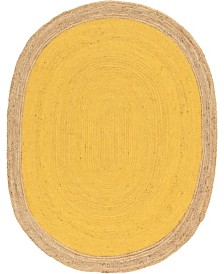 Bridgeport Home Braided Jute A Bja4 Yellow 8' x 10' Oval Area Rug