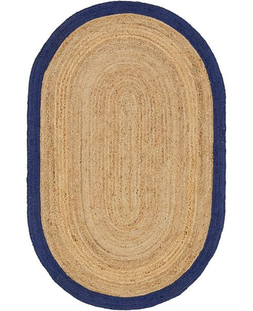 Bridgeport Home Braided Jute A Bja4 Natural 5' x 8' Oval Area Rug