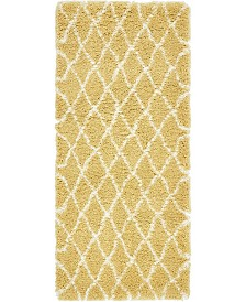 "Bridgeport Home Fazil Shag Faz3 Yellow 2' 7"" x 6' Runner Area Rug"