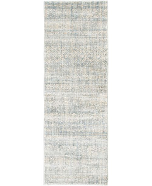 "Bridgeport Home Haven Hav2 Light Blue 2' 2"" x 6' Runner Area Rug"