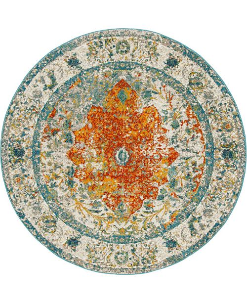 Bridgeport Home Mishti Mis9 Orange 8' x 8' Round Area Rug