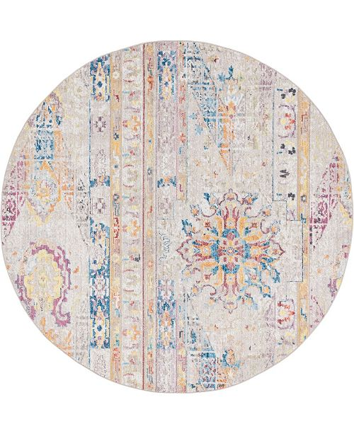Bridgeport Home Nira Nir1 Beige 8' x 8' Round Area Rug