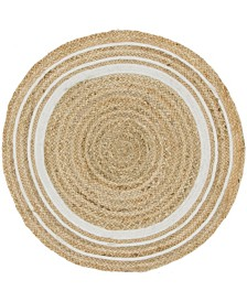 "Bridgeport Home Braided Border Brb1 Natural/White 3' 3"" x 3' 3"" Round Area Rug"