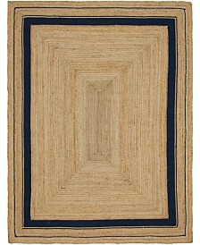 Bridgeport Home Braided Border Brb1 Natural/Navy 9' x 12' Area Rug
