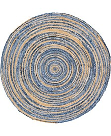 Roari Braided Chindi Rbc1 Blue/Natural 8' x 8' Round Area Rug