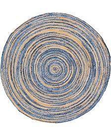 Bridgeport Home Roari Braided Chindi Rbc1 Blue/Natural 8' x 8' Round Area Rug