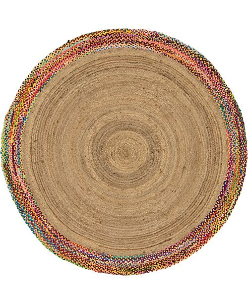 Bridgeport Home Chindi Border Chb2 Natural 8' x 8' Round Area Rug