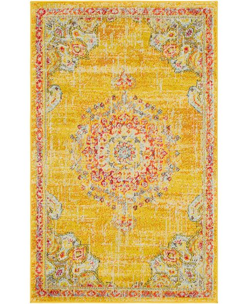 "Bridgeport Home Lorem Lor1 Gold 3' 3"" x 5' 3"" Area Rug"