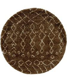 Fazil Shag Faz2 Tan 5' x 5' Round Area Rug