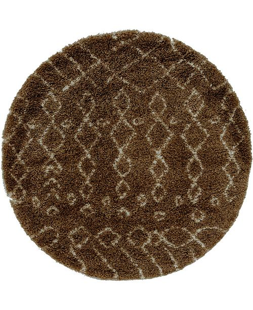 Bridgeport Home Fazil Shag Faz2 Tan 5' x 5' Round Area Rug
