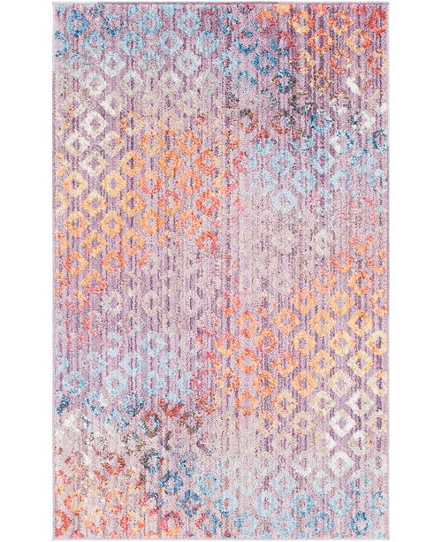"Bridgeport Home Prizem Shag Prz2 Lilac 3' 3"" x 5' 3"" Area Rug"