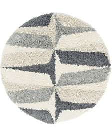 Bridgeport Home Lochcort Shag Loc6 Gray 5' x 5' Round Area Rug