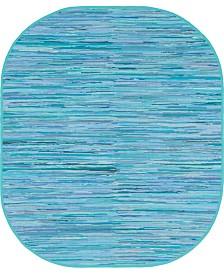 Bridgeport Home Jari Striped Jar1 Turquoise 8' x 10' Oval Area Rug
