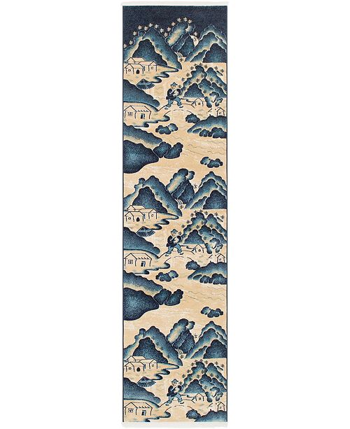 "Bridgeport Home Sahil Sah2 Navy Blue 2' 7"" x 10' Runner Area Rug"