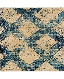"Bridgeport Home Thule Thu4 Blue 4' 5"" x 4' 5"" Square Area Rug"