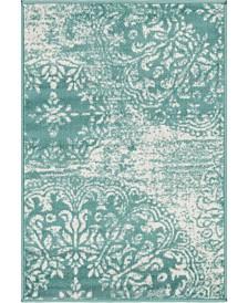 """Bridgeport Home Basha Bas7 Turquoise 2' 2"""" x 3' Area Rug"""