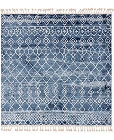 "Levia Lev1 Dark Blue 7' 7"" x 7' 7"" Square Area Rug"
