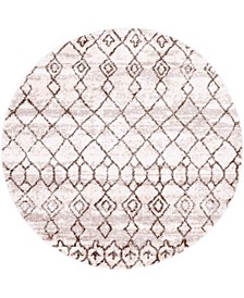 "Levia Lev1 Brown 4' 7"" x 4' 7"" Round Area Rug"