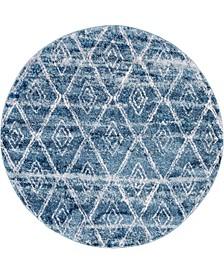 "Levia Lev2 Dark Blue 4' 7"" x 4' 7"" Round Area Rug"