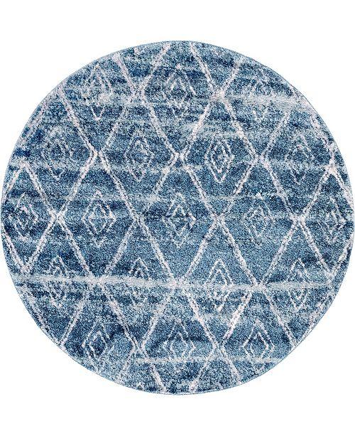 "Bridgeport Home Levia Lev2 Dark Blue 4' 7"" x 4' 7"" Round Area Rug"