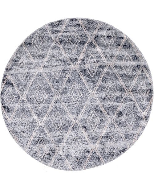 "Bridgeport Home Levia Lev2 Gray 4' 7"" x 4' 7"" Round Area Rug"
