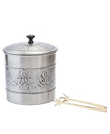 """Old Dutch International Antique Embossed """"Victoria"""" Ice Bucket with Brass Tongs, 3-Quart"""