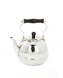 Old Dutch International Stainless Steel Hammered Tea Kettle with Wood Handle