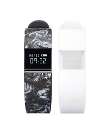 iFitness Activity Tracker with Black Marble Printed Strap and Bonus White Strap