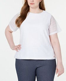 Calvin Klein  Plus Size Textured Sheer-Sleeve Top