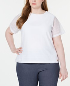 White Plus Size Tops - Macy\'s