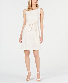 Shadow-Stripe A-Line Dress
