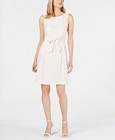 Shadow-Stripe A-Line Dress