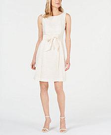 Anne Klein Shadow-Stripe A-Line Dress