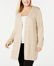 Plus Size Textured-Stripe Long Cardigan Sweater