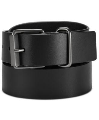 Men's Roller-Buckle Leather Belt