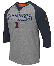 Colosseum Men's Illinois Fighting Illini Team Patch Three-Quarter Sleeve Raglan T-Shirt