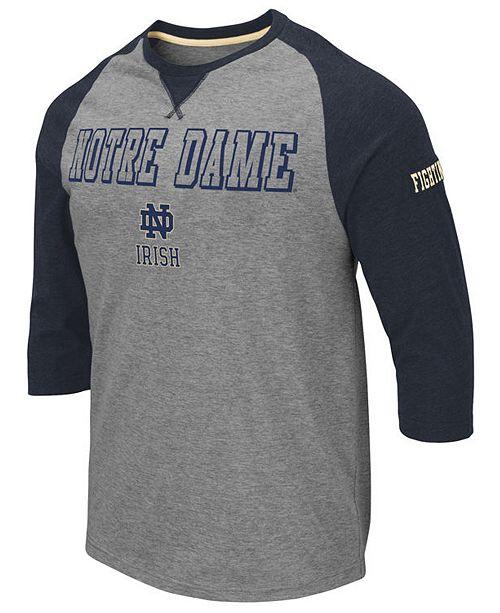 Colosseum Men's Notre Dame Fighting Irish Team Patch Three-Quarter Sleeve Raglan T-Shirt
