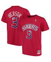 6a7f1fac855 Mitchell & Ness Big Boys Allen Iverson Philadelphia 76ers Hardwood Classic  Player T-Shirt