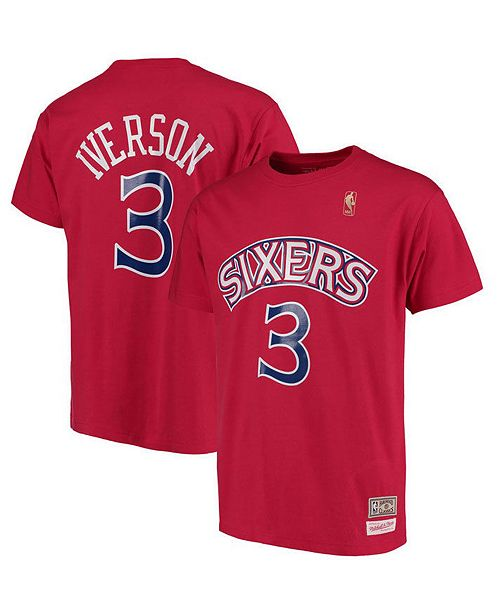 sale retailer 7616e 3bd7e Big Boys Allen Iverson Philadelphia 76ers Hardwood Classic Player T-Shirt