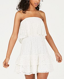 Juniors' Strapless Lace Popover Dress