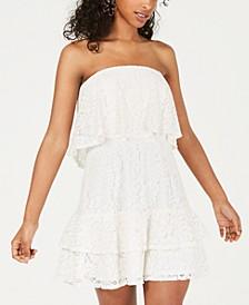 Juniors' Strapless Lace Popover Dress