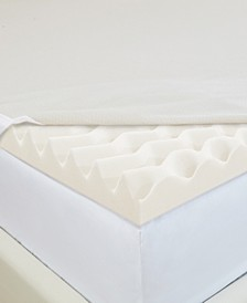 "Wave 2"" Foam Queen Mattress Topper with Copper-Embedded Cover"