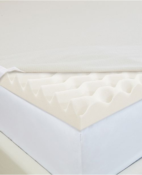 """CopperFresh Wave 2"""" Foam Queen Mattress Topper with Copper-Embedded Cover"""