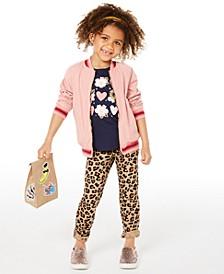 Little Girls Reversible Bomber Jacket, Heart-Print T-Shirt & Leopard-Print Jeans, Created for Macy's